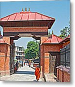 Entry To Pasupatinath Temple Of Cremation Complex In Kathmandu-nepal    Metal Print