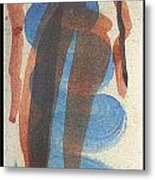 Entwined Figures Series No. 2 Blue Unknown Metal Print by Cathy Peterson
