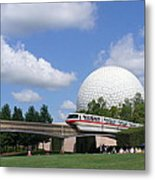 Epcot And The Monorail Ride Metal Print