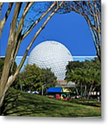 Epcot Globe 02 Metal Print by Thomas Woolworth