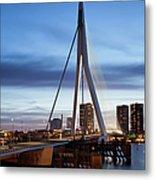 Erasmus Bridge And City Skyline Of Rotterdam At Dusk Metal Print