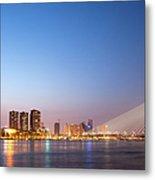 Erasmus Bridge In Rotterdam At Dusk Metal Print