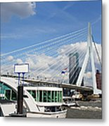 Erasmus Bridge In Rotterdam City Downtown Metal Print by Artur Bogacki