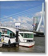 Erasmus Bridge In Rotterdam Downtown Metal Print by Artur Bogacki