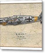 Erich Hartmann Messerschmitt Bf-109 - Map Background Metal Print by Craig Tinder