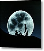 Eros Under A Full Moon Rising Metal Print