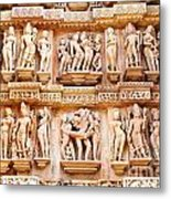 Erotic Human Sculptures Khajuraho India Metal Print