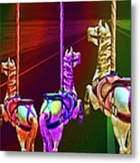 Escape Of The Carousel Horses Metal Print