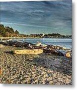 Esquimalt Lagoon - Logs And Beach Metal Print