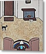 Essence Of Home - Black And White Cat In Living Room Metal Print