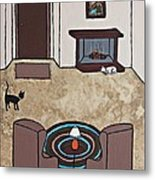 Essence Of Home - Cat By Fireplace Metal Print