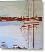 Essex Harbor Reflections Metal Print