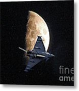 Eurofighter Against A Harvest Moon Metal Print