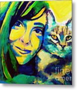 Evangelina And The Cat Metal Print