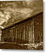 Evening Barn Sepia Metal Print