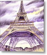 Evening In Paris A Walk To The Eiffel Tower Metal Print