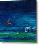 Evening Landscape Oil On Canvas Metal Print