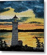 Evening Lighthouse In Stained Glass Metal Print