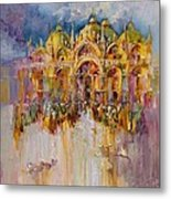 Evening Lights On St. Mark Square Metal Print