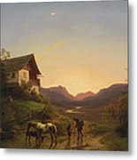 Evening Mood In Front Of A Wide Landscape With Horses Metal Print