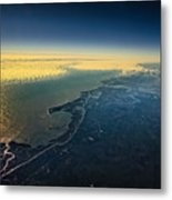 Evening Ocean Shore From The Airplane Window Metal Print