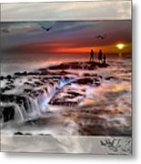 Evening Stroll At The Beach -featured In 'cards For All Occasions'comfortable Art'  'digital Veil Metal Print