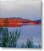 Evening Sun Glow On Calm Twin Lakes Yukon Canada Metal Print
