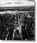 Evening View Of Manhattan West Towards Hudson River And One Penn Plaza Night New York City Metal Print