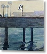 Eventide At The Oceanside Harbor Fishing Pier Metal Print