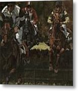 Eventing Horses Over Jump Metal Print