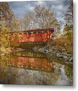 Everett Rd. Covered Bridge In Fall Metal Print