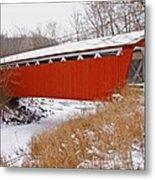 Everett Rd. Covered Bridge In Winter Metal Print