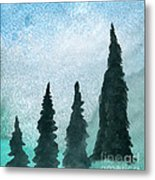Evergreens On Green And Blue Landscape #1 Metal Print
