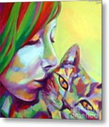 Evi And The Cat Metal Print