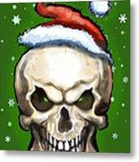 Evil Christmas Skull Metal Print
