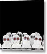 Evil White Ghosts In A Crowd With Black Space Metal Print