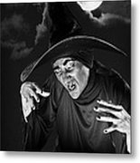 Evil Witch Under A Full Moon Metal Print