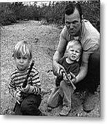Ex Green Beret Barry Sadler In Target Practice With Son's Thor And Baron Tucson Arizona 1971 Metal Print