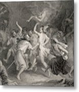 Excited Scottish Witches Dance Metal Print