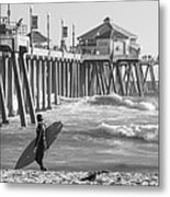Existential Surfing At Huntington Beach Metal Print