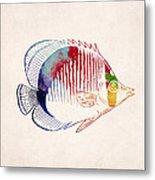 Exotic Tropical Fish Drawing Metal Print