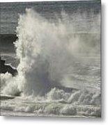 Explosive Wave At Mavericks Point Metal Print