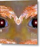 Eyes Of A Child Feathered Metal Print