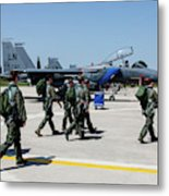 F-15 Pilots Of The 48th Fighter Wing Metal Print
