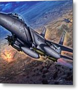 F-15e Strike Eagle Scud Busting Metal Print by Stu Shepherd