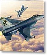 F-16c Sunset Falcons Metal Print by Stu Shepherd
