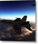 F-18 Super Hornets On Patrol Metal Print