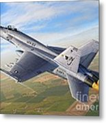 F-18E Over the Valley Metal Print