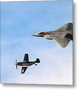 F-22 And P-51 Heritage Flight Metal Print by Saya Studios