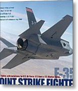 Lockheed Martin F-35 Joint Strike Fighter Lightening II With Text Metal Print